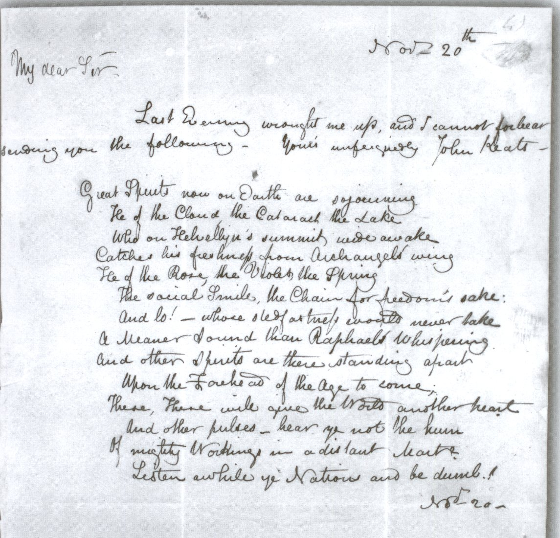 John Keats letters analysis