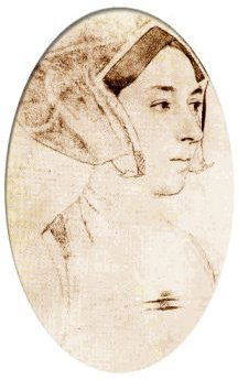 Sepia-tinged sketch of Anne Boleyn by Hans Holbein the Younger