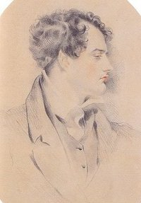 A mirror image of Harlow's 1815 sketch of Byron