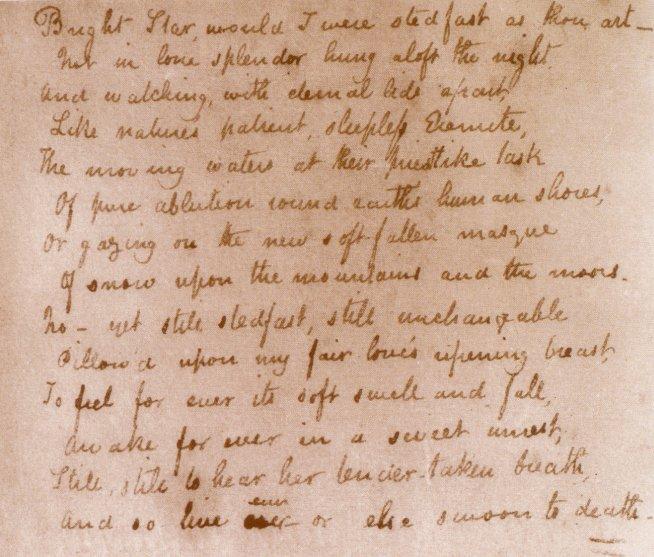 The original manuscript image of the 'Bright star!' sonnet