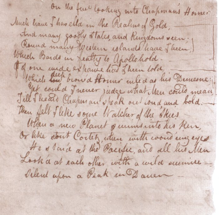 John Keats's 'On First Looking into Chapman's Homer