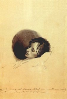 sketch of Keats on his deathbed by Joseph Severn
