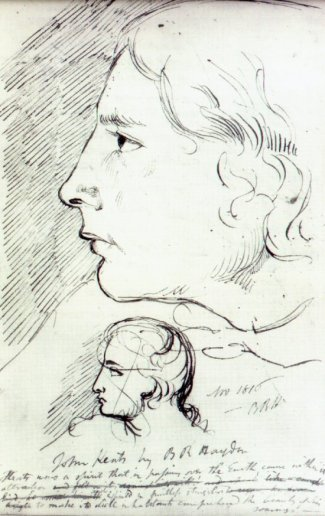 sketch of John Keats by BR Haydon, c1816