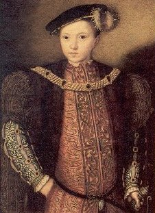Portrait of Edward VI in 1547, in a pose reminiscent of his father