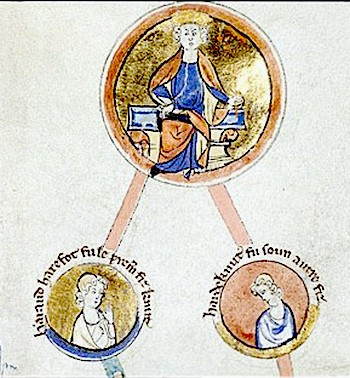 Canute, king of England, Denmark, and Norway, and his sons Harald Harefoot and Harthacnut