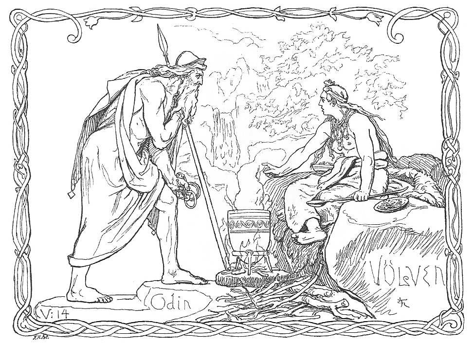 A völva, a Scandinavian seeress, tells the spear-wielding god Odin of what has been and what will be in Odin and the Völva by Lorenz Frølich (1895)