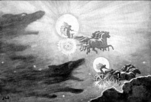 The Wolves Pursuing Sol and Mani (the sun and the moon)